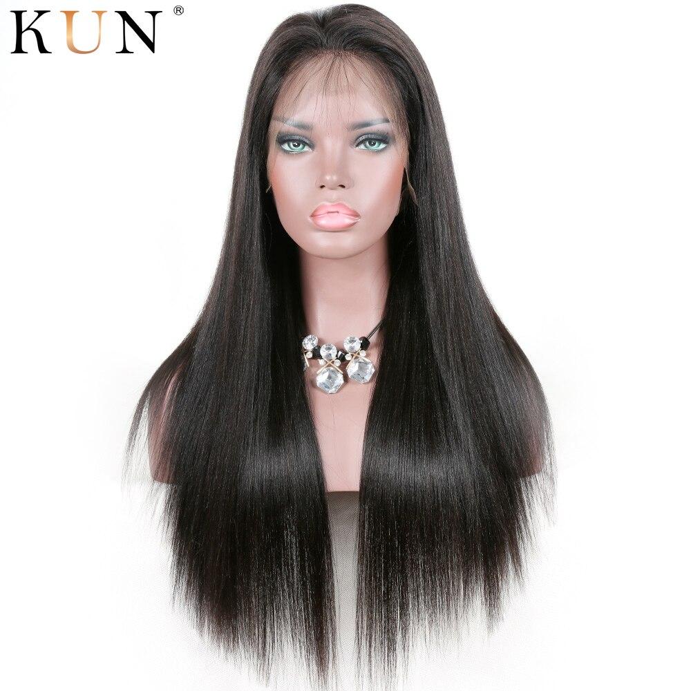 Yaki Straight 13x4 13x6 Lace Front Human Hair Wigs Brazilian Remy Yaki Human Hair Wig Pre Plucked For Women Full End Kun Hair