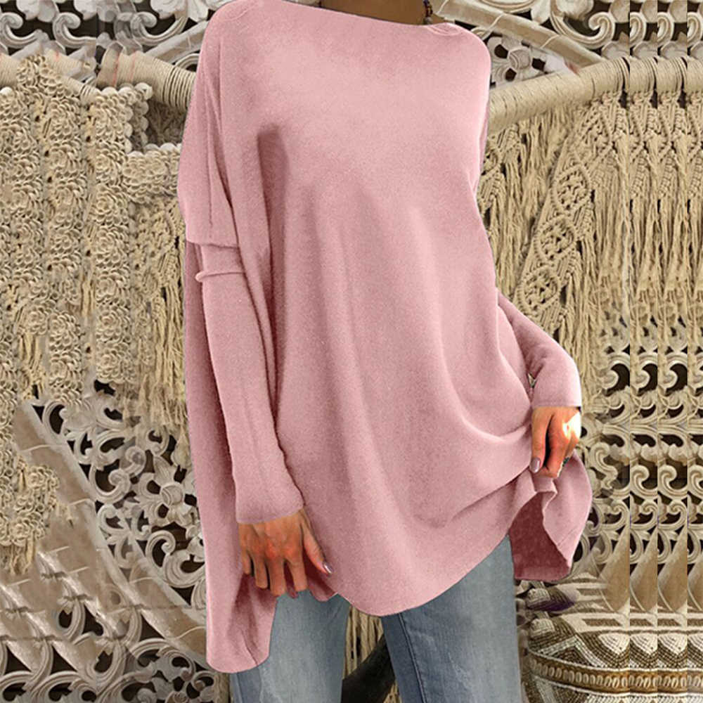 Women Long Sleeve Solid Color T Shirts Autumn Oversize Casual Loose Pullover Jumper Tops Female Plus Size 3XL
