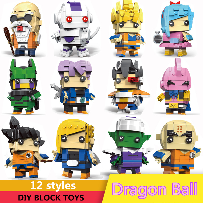 Big Size Dragon Ball DIY Building Blocks Goku Trunks Bulma Cell Piccolo Majin Buu Krilin Action Figure Brickheadz Compatible