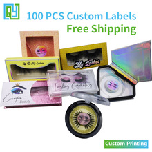 100 pcs Free Shipping Custom Printing Eyelash Label Clear Logo  Lipgloss Make Up Palette Packaging Silver Holographic Stickers