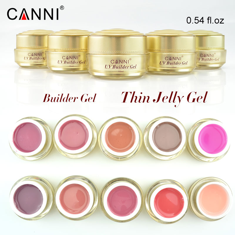 #50951 CANNI Nail Supply Gold Bottle Builder Gel 15ml Clear Uv Gel Nail Art Scupture Soak Off Nail Lamp Cure Thin Gel Nails