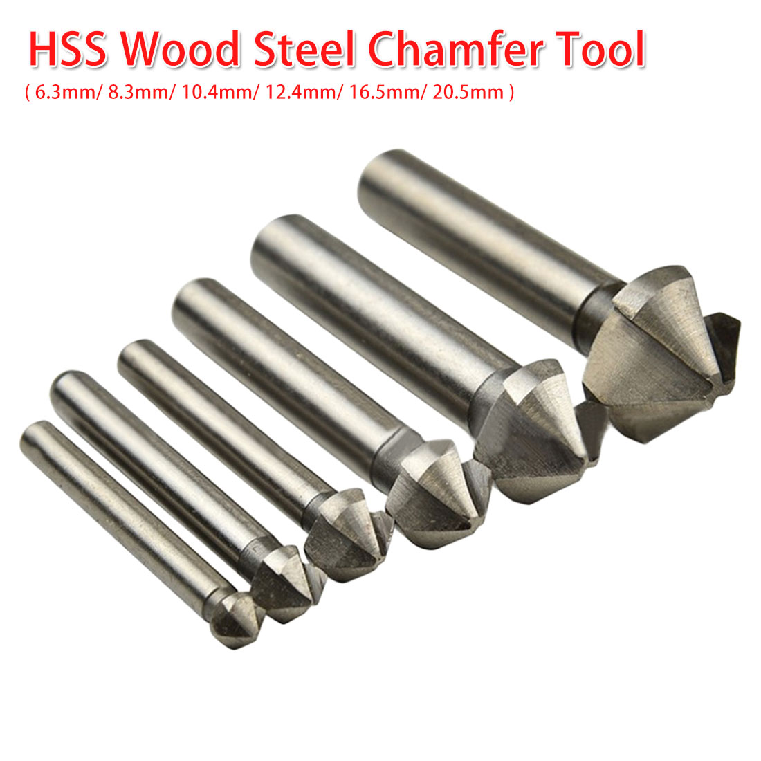 90 Degree 3 Flute Countersink Drill Bit Round Handle HSS Wood Steel Chamfer Cutter Tool 6.3-20.5mm For Carbon Steel/ PVC/Wood