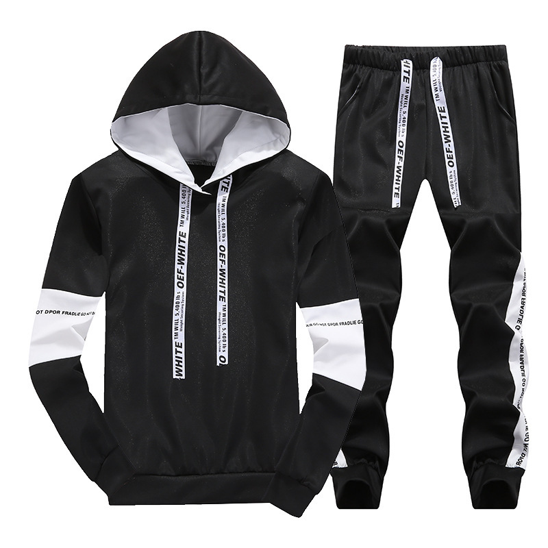 Spring And Autumn New Style Men Hooded Striped Letters Pullover Hoody Large Size Leisure Sports Suit Men's