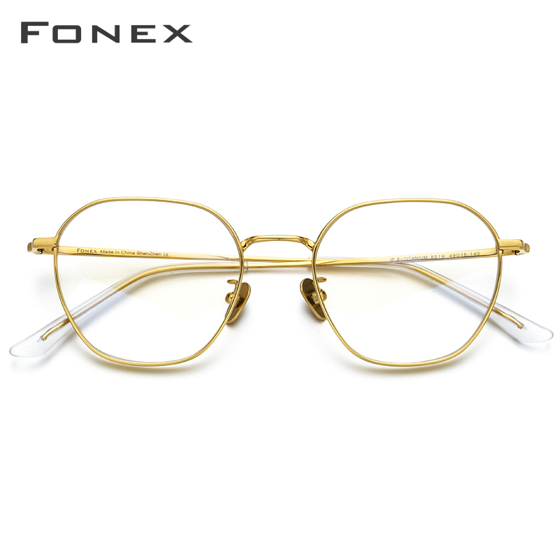 FONEX Pure Titanium Glasses Frame Men Myopia Optical Prescription Vintage Eyeglasses Frame Women New Gold Polygon Eyewear 8519 image