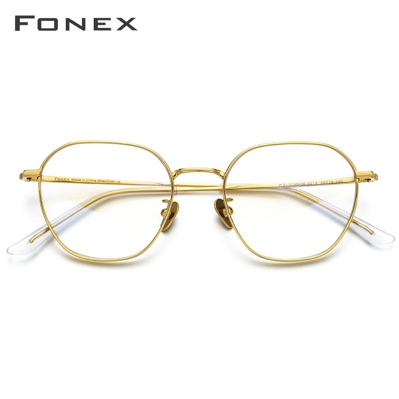 FONEX Pure Titanium Glasses Frame Men Myopia Optical Prescription Vintage Eyeglasses Frame Women New Gold Polygon Eyewear 8519