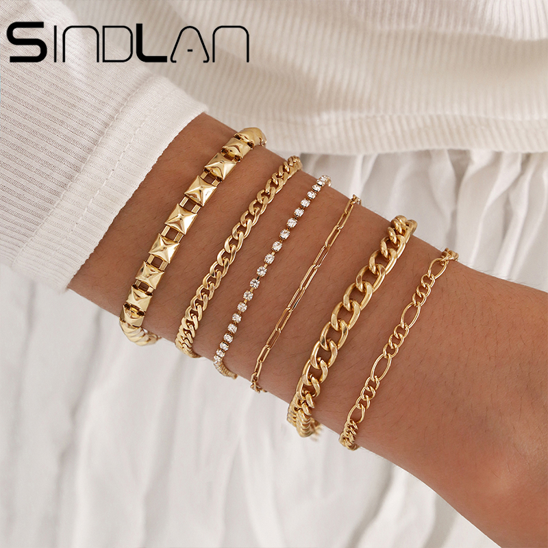 Geometric Simple Gold 6Pcs Couple Bracelet Set for Women Charm Easy Hook Full Crystal Exaggerated Female Hollow Wrist Jewelry