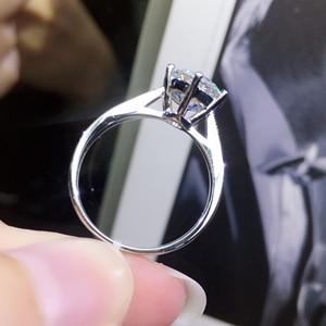 Image 3 - 925 เงินสเตอร์ลิง Moissanite แหวนสไตล์คลาสสิกรอบตัดแหวนแถวเดียวเพชรแหวน 1CT 2CT 3CT