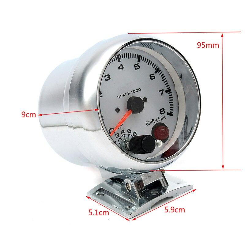 0 ~ 8000 tr/min 7 couleurs LED rétro-éclairage tachymètre jauge WhiteWorks sur 4 6 8 moteurs de cylindre universel convient au véhicule à essence 12V - 2