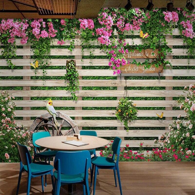 Photo Wallpaper 3D Wood Board Rose Flowers Murals Restaurant Cafe Living Room Background Wall Paper For Walls 3D Papel De Parede