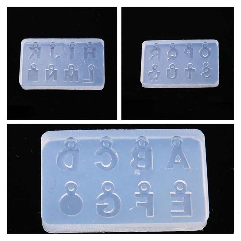 Doreen Box Silicone Resin Mold For Jewelry Making Rectangle Transparent Clear Initial Alphabet/ Capital Letter DIY Gift, 1 Piece
