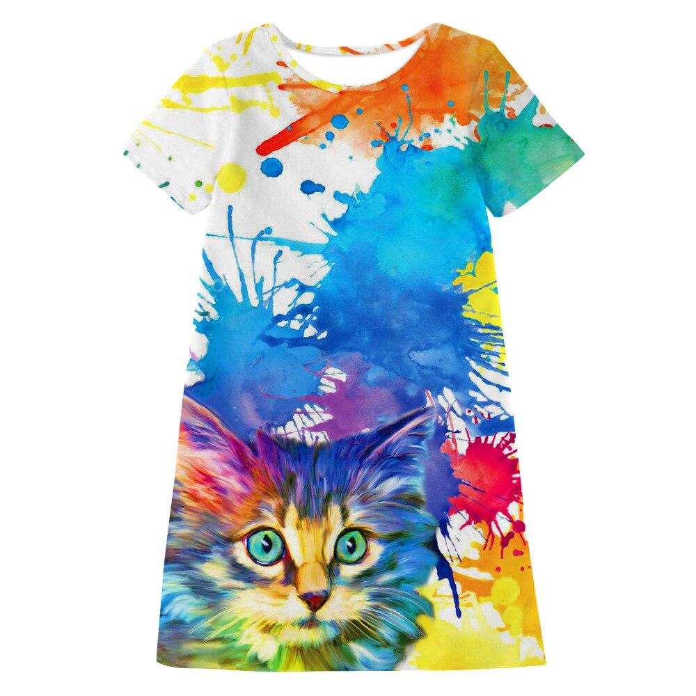2020 Girls Summer Dress Fashion Cat Print Long Tshirt Dress For Girls 10 To 12 Years Kids Casual Dresses Teenage Girls Clothes