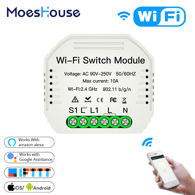MiNi Wifi Smart Light Switch Diy Breaker Module Smart Life Tuya APP Remote Control,Works With Alexa Echo Google Home 1 2 Way