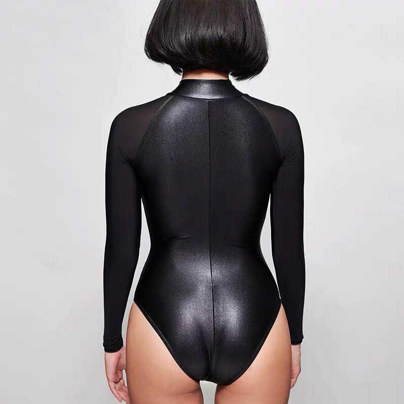 Lunamy セクシーな長袖レオタードマット黒ボディスーツハイカットワンピース水着女性水着日本水着