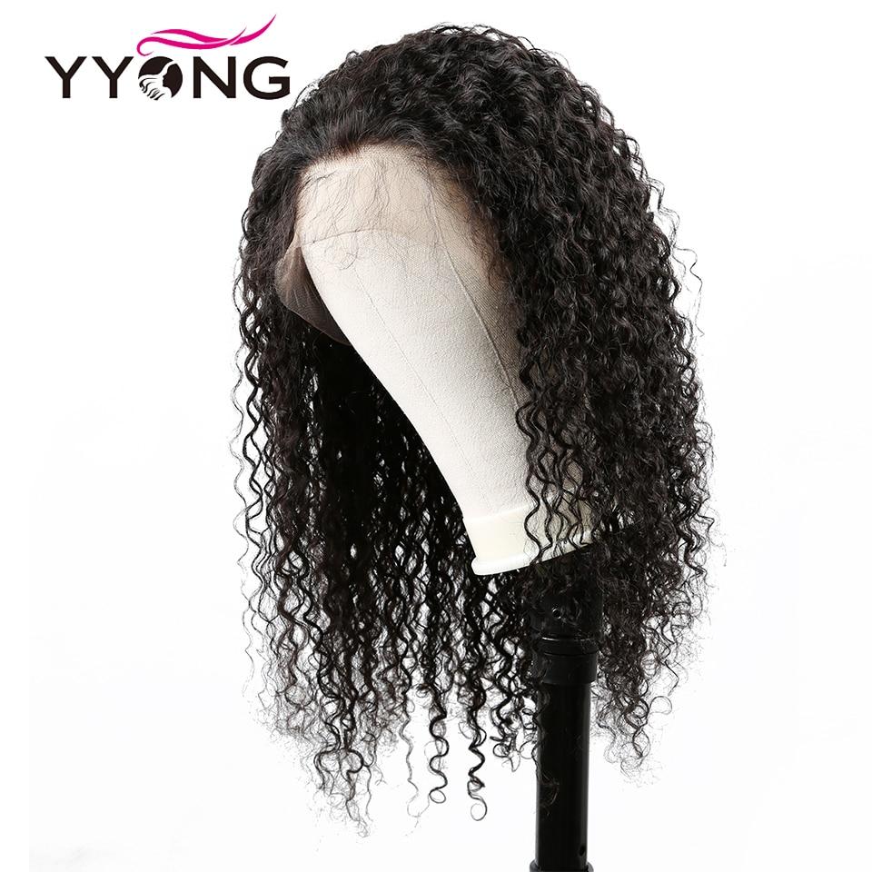 Yyong 12x3 brasileiro kinky encaracolado perucas de cabelo humano frente do laço perucas de cabelo humano remy perucas de frente do laço para preto feminino baixa relação