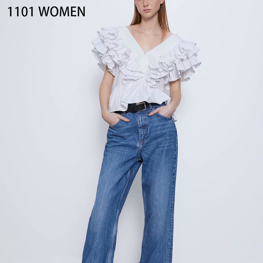 ZA NEW Summer Spring Women's  White Solid Ruffles Sleeveless V-Neck Casual Shirt Fashion Sexy Female Woman Clothes
