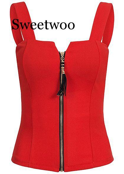SWEETWOO Summer Women's Fashion Sleeveless Blouse Sexy Tank Zipper Top Elegant Slim Fit Bandage Shirt 5XL