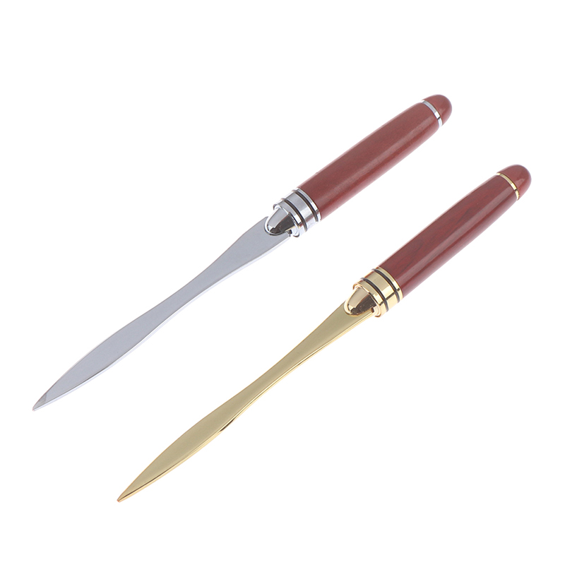 Wood Handle Letter Opener Stainless Steel Letter Opening Cut Paper Knife Split File Envelopes For School Student Stationery