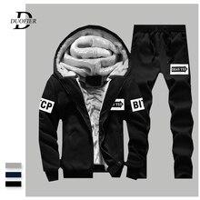 Ensemble de combinaison de sport pour hommes, deux pièces, veste + pantalon en molleton épais, survêtement Slim, sweat à capuche, vêtements de marque, décontracté