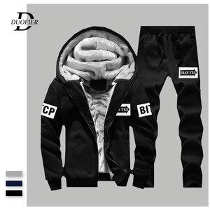 Image 1 - WARM ผู้ชายชุดลำลองหนาขนแกะชุดกีฬาเสื้อ + กางเกง 2 ชิ้นชุด Slim Tracksuit ชาย Hoodies ยี่ห้อเสื้อผ้า