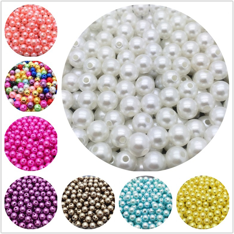 4/6/8/10mm Acrylic Spacer Beads Imitation Pearls Round Loose Beads For Jewelry Making DIY Garment Pearls Beads(China)