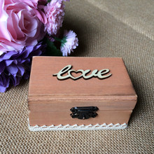 Vintage Love Wooden Ring Box Wedding Ring Bearer Box with Burlap Roll Pillow(China)