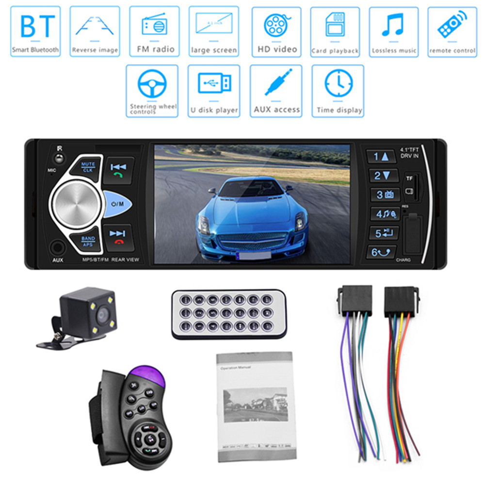 4.1 inch HD Multimedia Car MP5 Player In-Dash Bluetooth Hands-free Calling Vehicle FM Radio 4022D Reverse Image Rear Camera image