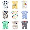 Детская цельная одежда, летняя хлопковая одежда для малышей, Детская уличная одежда с коротким рукавом