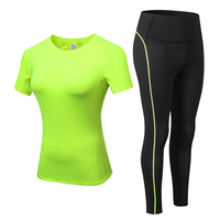 2020 Sports Running Gym Top +Leggings Set Women Fitness Suit Gym Trainning Set Clothing Workout Fitness Women Yoga Sets XXL