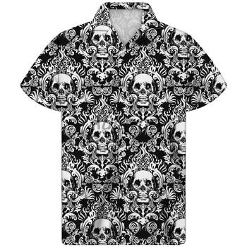 Gris estampado De Calavera Camisa De Playa De Calavera Guayabera Camisa Hombre Camisa hawaiana De los hombres De verano De talla grande Camisa ropa fina