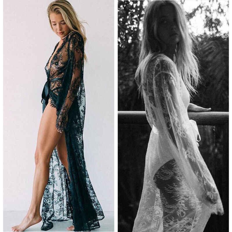 Donne Nero Bianco di Occultamento del Bikini di Estate Sexy Del Merletto Kimono Boho Beach Long Maxi Vestito Sheer Allentato Caftano Tunica Costume Da Bagno