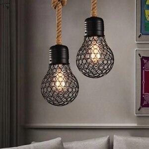 Американский промышленный Ретро подвесной светильник из пеньковой веревки, подвесной светильник в стиле лофт, декор для кафе, ресторана, ба...