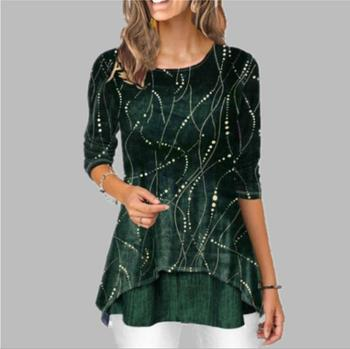 Shirt Women 2020 Spring Summer Blouse 3/4 Sleeve Casual Printing Irregularity Female fashion shirt Tops Plus Size StreetShirt 3
