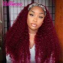 HERMOSO 99J bufanda pelucas para mujeres negras Glueless peluca con diadema 180% Borgoña rizado pelucas de cabello humano Pelo Rizado mongol