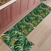 2 Piece Kitchen Mats Tropical Plant Bamboo Doormats for Entrance Way Bathroom Living room Door Mats Home Decor
