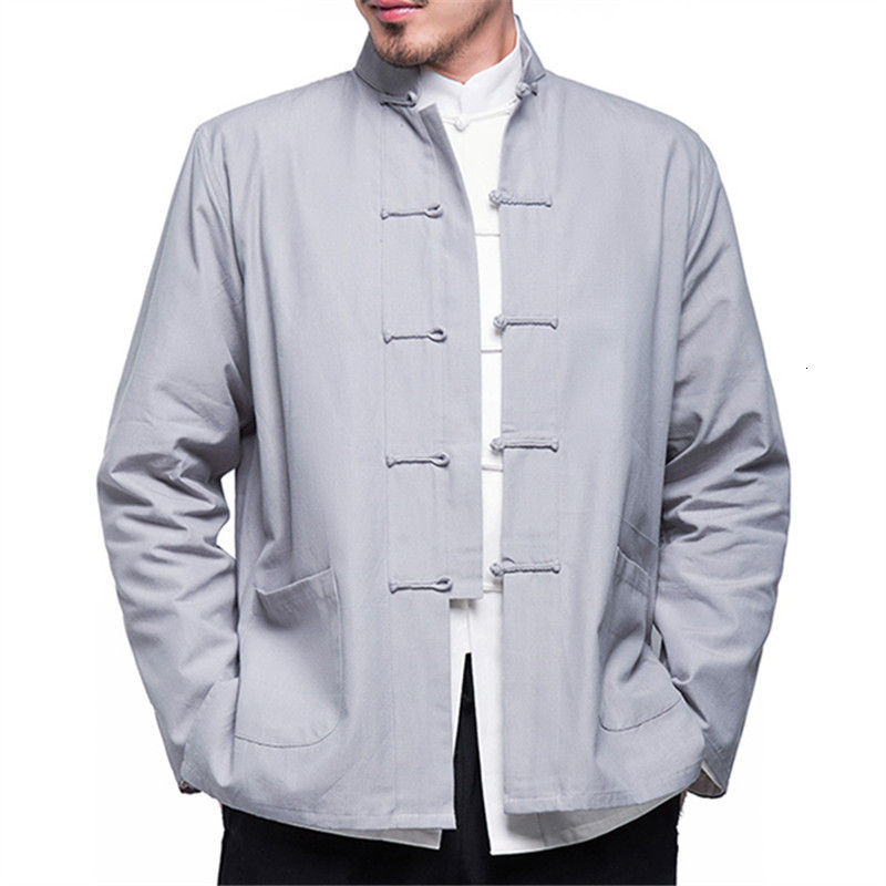 H8b0bc5b74aa64e5da72d2e2a7fc31b3f3 2019 Autumn New Men's Chinese Style Cotton Linen Coat Loose Kimono Cardigan Men Solid Color Linen Outerwear Jacket Coats M-5XL