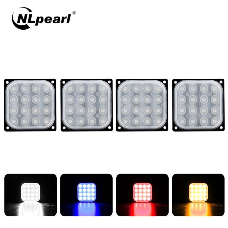 NLpearl 1x Car Light Assembly Truck LED Marker Light 16W 6500K 16SMD Flash Square Led Strobe Warning Light Rear Side Lamp 12V24V