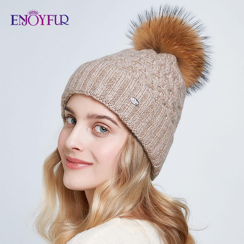 ENJOYFUR Winter Hats For Women Natural Fur Pompom Hat Warm Autumn Beanies For Female Fashion Skullies Lady Caps