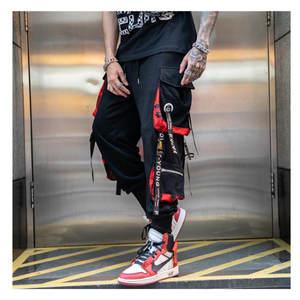 Overalls Joggers-Pants Big-Pockets Streetwear Hip-Hop Black Male Summer Mens Spring