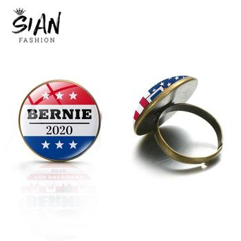 SIAN Bernie 2020 Theme Ring US Rresidential Election Opening Ring Glass Cabochon Bronze Silver Color Men Women American Jewelry image
