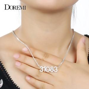 Image 5 - DOREMI คริสตัลจี้ตัวอักษรสร้อยคอผู้หญิงเครื่องประดับที่กำหนดเองที่กำหนดเองชื่อสร้อยคอ Zirconia iced OUT จี้