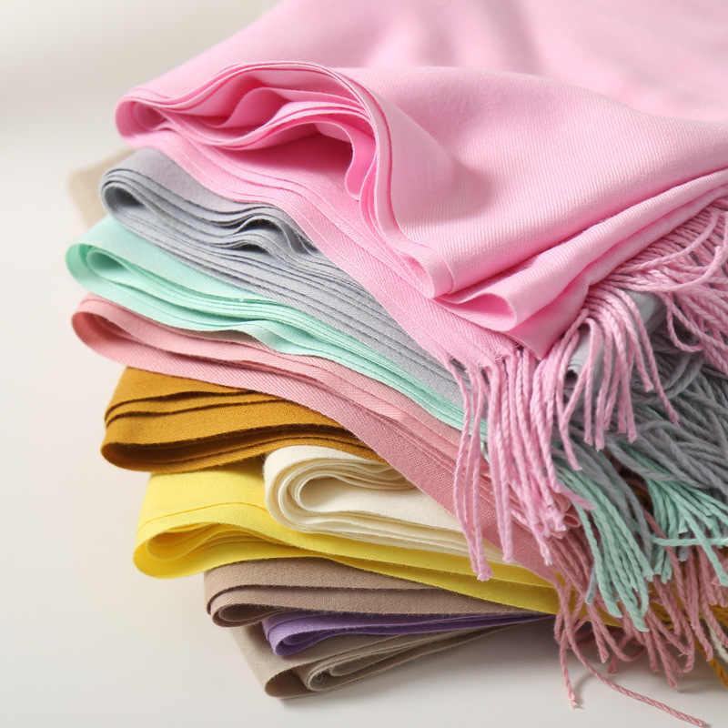 2020 の冬のスカーフショール暖かいラップ女性パシュミナ純粋な毛布カシミヤスカーフネックヘッドバンドhijabsストールスカーフ