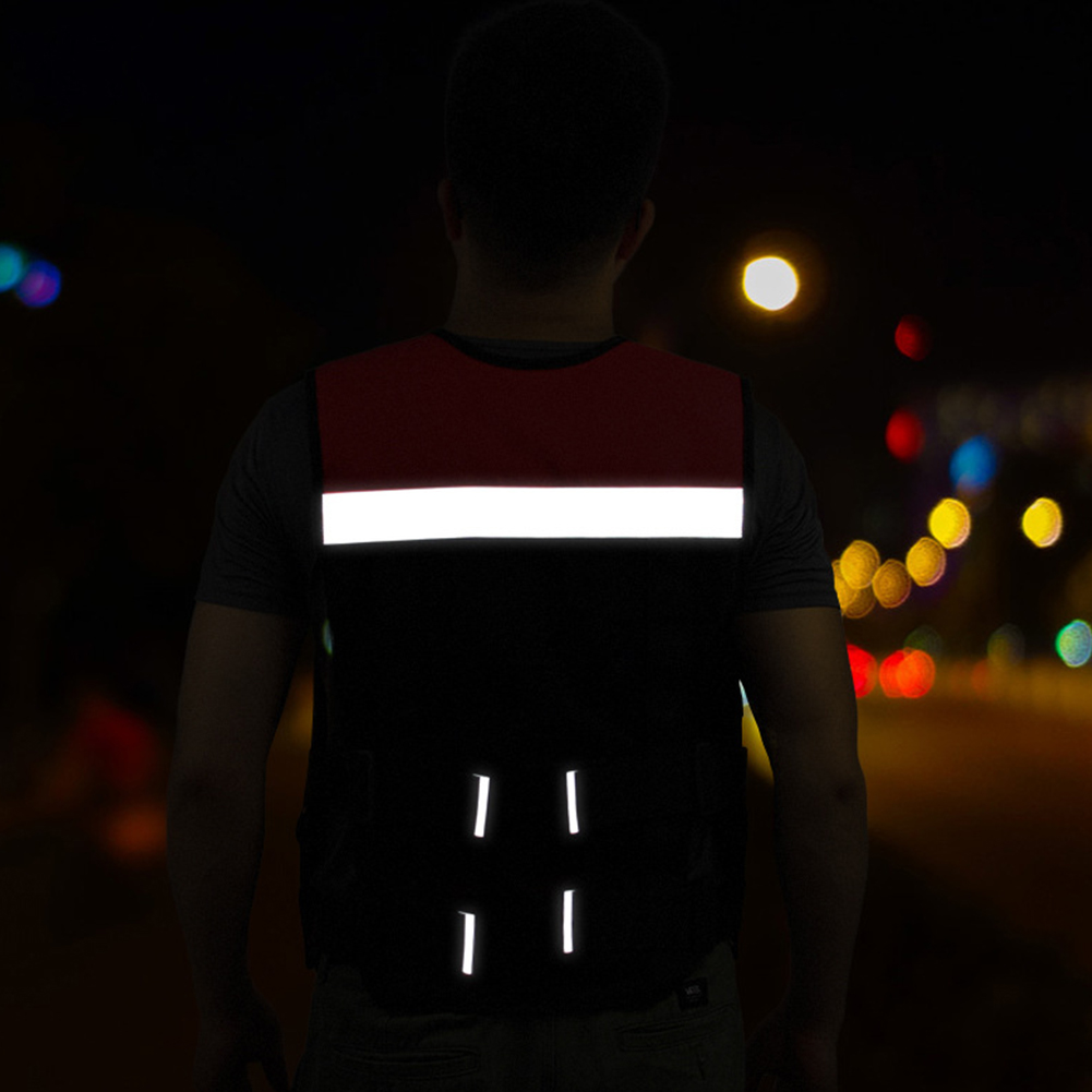 Men Women Oxford Cloth Motorcycle Apparel Reflective Safety Vest Jogging Breathable Mesh Soft Riding Cycling Outdoor Sports