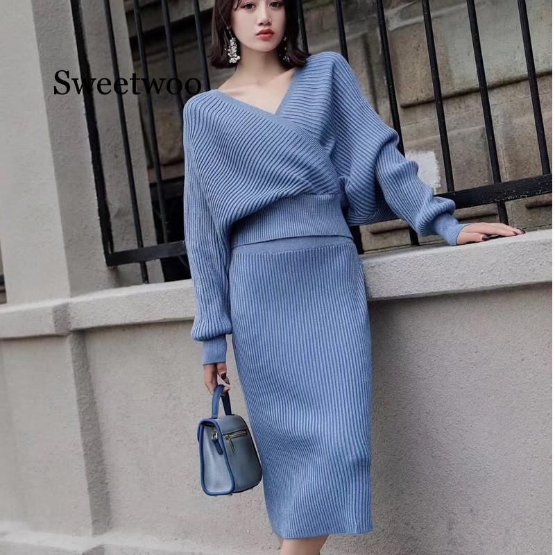 2020 Knitted 2 Piece Set Women Lantern Sleeve V Neck Sweater Elastic Waist Knitted Skirt Female Sweater Suit