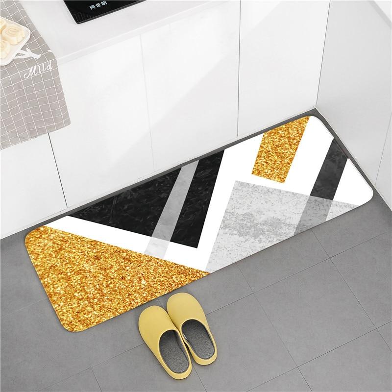 Modern Flannel Bathroom Mat Soft Thicken Bath Carpets Bathroom Rugs Multi-sizes Toilet Rugs Absorbent Kitchen Floor Mat Doormat