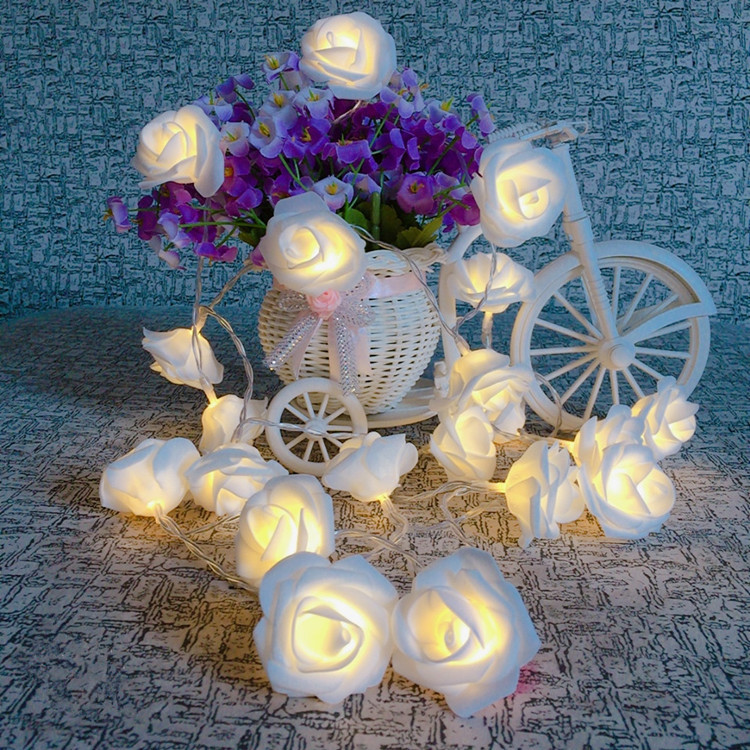 XYXP 1.5M 10led AA Battery LED Rose Christmas Lights Holiday String Lights Valentine Wedding Decoration Flower Bulbs LED Lamp