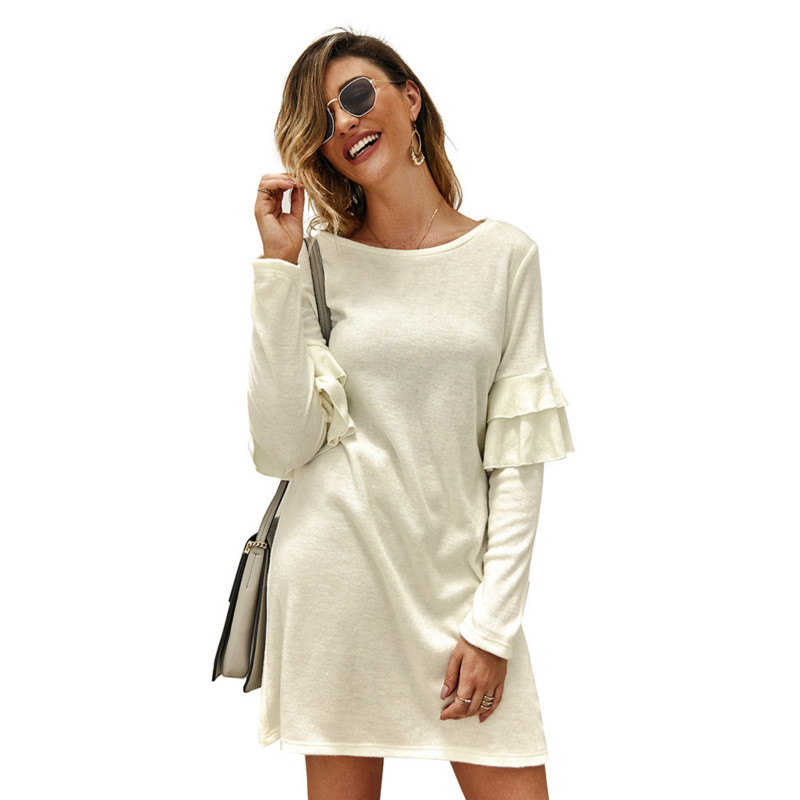 2019 Autumn Women Dress Round Neck Solid Color Casual Long Sleeve