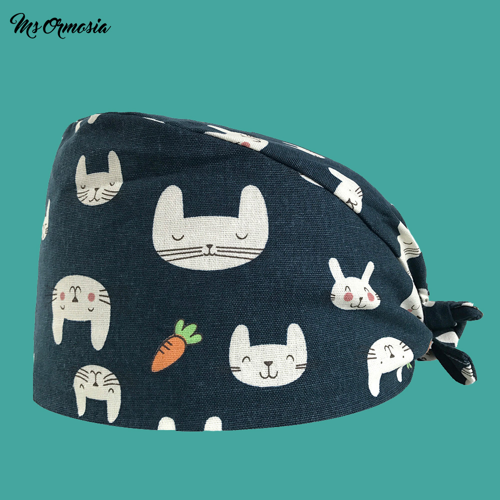 Quality Rabbit Print Men And Women 100% Cotton Hospital Doctor Cap Family Medical Cap Band Nurse Cap Hospital Doctor Surgery Hat
