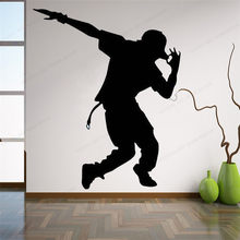 Pegatinas de pared con danza joyresin, pegatina de vinilo para pared de Hip Hop para hombre, decoración de pared para estudio de música, mural extraíble para pared para el hogar HJ520(China)