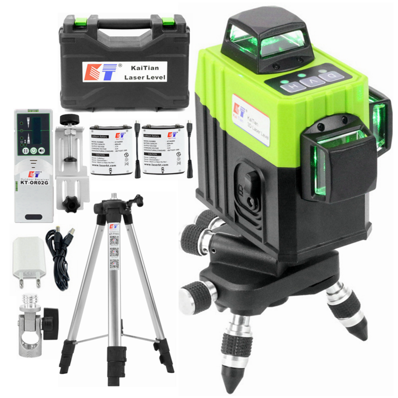 Kaitian 3D Laser Level Green 360 Nivel Laser 12 Lines Lazer Level 3D Tripod 5/8 Construction with Receiver Bracket Building Tool
