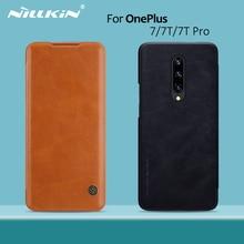 OnePlus 8 kılıf OnePlus 7T Pro durumda NILLKIN Vintage Qin Flip kapak cüzdan PU deri PC arka kapak için OnePlus 7T OnePlus 7 Pro